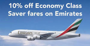 Emirates: 5% – 10% off fares promo code for UOB cardholders valid till 31 Dec 2019