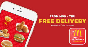 McDelivery: Enjoy FREE delivery from Mondays to Thursdays with this code! Valid from 11 Sep 2018