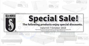 Featured image for Sea Horse: Up to 50% OFF selected furniture – mattresses, sofa & more! Ends 7 Oct 2018