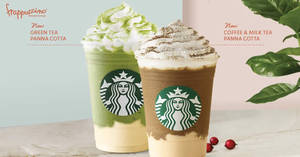 "Starbucks new ""Coffee & Milk Tea Panna Cotta"" & ""Green Tea Panna Cotta Cream"" Frappuccinos now available! From 25 Sep 2018"