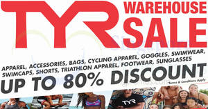 TYR up to 80% off warehouse sale from 21 – 23 Sep 2018