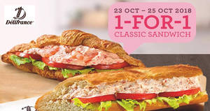 Delifrance: 1-for-1 classic sandwiches at almost all outlets from 23 – 25 Oct 2018