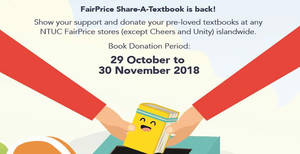 Featured image for FairPrice Share-A-Textbook: Donate your pre-loved textbooks at any FairPrice store till 30 Nov 2018