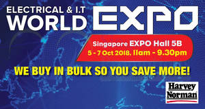 Featured image for Harvey Norman Electrical and IT World EXPO from 5 – 7 Oct 2018