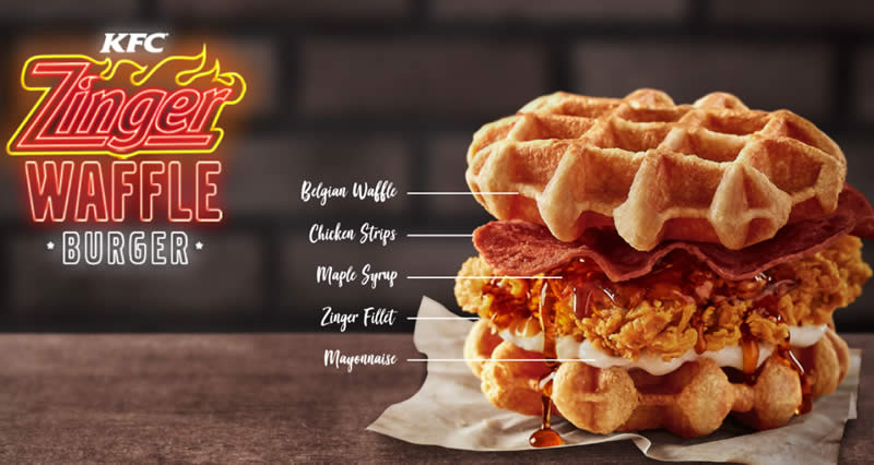 Kfc Malaysia Launches New Zinger Waffle Burger From 2 Oct 2018