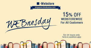 Kinokuniya: ALL customers enjoy 15% off books at online store on 17 Oct 2018
