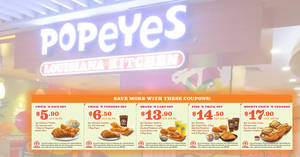 Popeyes: Latest dine-in/takeaway discount coupon deals now available valid till 26 Nov 2018