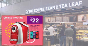 The Coffee Bean & Tea Leaf: 22nd anniversary deals – $22 (U.P. $339) coffee machine & more! Ends 1 Nov 2018