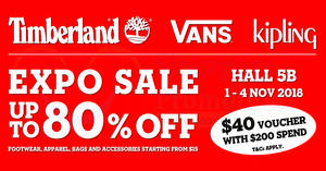 Featured image for Timberland, Vans & Kipling up to 80% OFF Expo sale from 1 – 4 Nov 2018