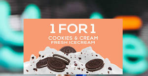 Yole offering 1-for-1 limited edition cookies & cream fresh ice cream on 22 Oct 2018