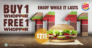 Burger King is offering 1-for-1 WHOPPER® burgers at almost all outlets from 9 Nov 2018 – while stocks last!