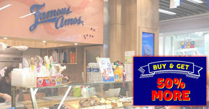 Famous Amos: It's BACK! Get 50% more cookies free with every purchase of 400g bag from 19 – 21 April 2019