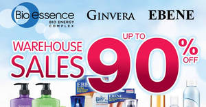 Ginvera, Bio-Essence & Ebene up to 90% off warehouse sale from 21 – 24 November 2019
