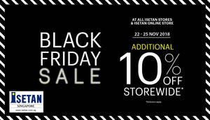 Isetan: 10% OFF storewide (NO membership required) at all outlets from 22 – 25 Nov 2018