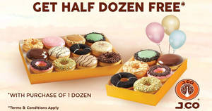 J.CO Donuts & Coffee: Free half dozen donuts when you buy a dozen all-day from 21st to 22nd November 2018