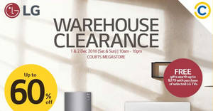 Featured image for LG up to 60% off warehouse clearance sale from 1 – 2 Dec 2018
