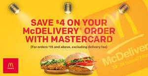 Save $4 on your McDelivery order when you pay using Mastercard from now till 31st December 2018