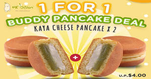 Mr Bean: 1-for-1 Kaya Cheese Pancake at 53 participating outlets from 9 Nov 2018