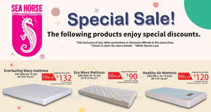 Sea Horse: Up to 70% off selected furniture – mattresses, sofa & more from 20 Nov 2018