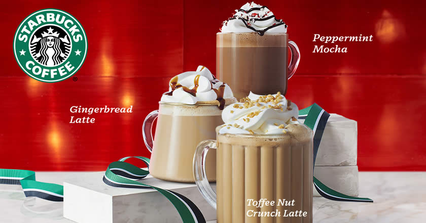 Starbucks Toffee Nut Crunch Latte Peppermint Mocha And