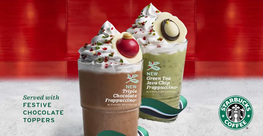 Starbucks New Triple Chocolate Frappuccino And Green Tea
