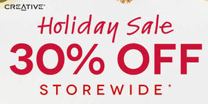 Creative eStore offers 30% off storewide with this coupon code valid from 17 Dec 2018
