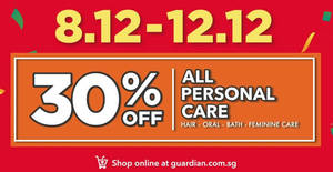 Guardian is offering 30% off ALL personal care (hair, oral, bath, feminine care) products till 12 Dec 2018
