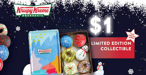 Krispy Kreme: Enjoy a Christmas Tin for S$1 (U.P. S$24.90) with OCBC cards on Apple Pay till 31 Dec 2018