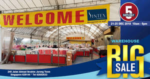 Featured image for Sintex annual warehouse sale from 21 – 25 Dec 2018, 10am – 6pm