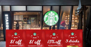 Starbucks: Flash these coupons to enjoy Buy-2-Get-1-Free, $1 off drink and more till 16 Dec 2018