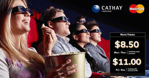 Featured image for Cathay Cineplexes: Enjoy discounted movie tickets from $8.50 with Mastercard credit/debit cards till 31 Mar 2019