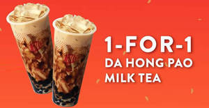 LiHO: 1-for-1 Da Hong Pao Milk Tea with Brown Sugar Pearl promotion till 15 Feb 2019
