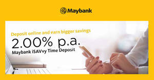 Maybank: Earn 2.00% p.a. with the latest SGD Time Deposit promo from 10 Jan 2019