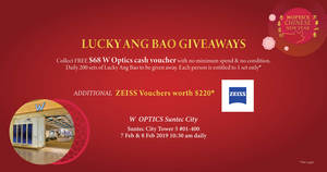 Featured image for Redeem FREE $68 W OPTICS cash vouchers with no min spend this CNY at Suntec City flagship store, #01-400 on 7 & 8 Feb 2019