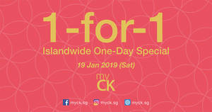 myCK CNY Sale & Islandwide 1-FOR-1 One-Day Special on 19 Jan 2019