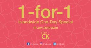 myCK CNY Sale & Islandwide 1-FOR-1 One-Day Special on 19 Jan 2019