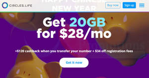 Featured image for Circles.Life: Get 20GB for $28 and get $120 cashback if you transfer your number (New Users)! Ends 18 Feb 2019