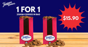 Famous Amos is offering 1-for-1 250gm cookies in bag from 15 – 17 Feb 2019