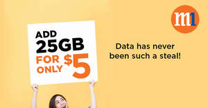 M1 launches $5 for 25GB mobile data add-on from 23 Feb 2019