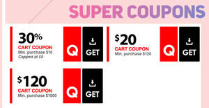 Qoo10 Super Sale – grab 30%, $20 & $120 cart coupons! Valid till 24 Feb 2019