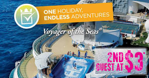 Royal Caribbean's boldest offer ever – 2nd guest cruises at $3*! Book by 24 Feb 2019