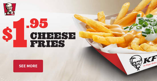 Featured image for Grab KFC Cheese Fries at only $1.95 (53% off!) for a limited time till 16 April 2019