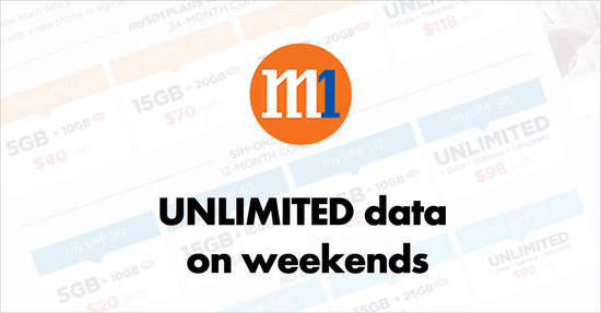 Featured image for M1: Free unlimited data all weekend long on no-contract SIM-only plans for a limited time from 19 March 2019