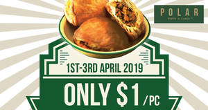 Featured image for Polar Puffs & Cakes to offer their crispy Signature Curry Puffs for just $1 (U.P. $2) from 1st – 3rd April 2019