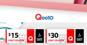 Qoo10: Grab $15 and $30 cart coupons from 27 – 28 Mar 2019