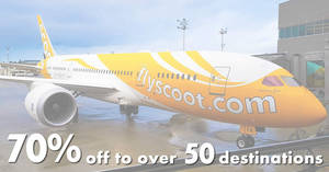 Scoot is offering 70% OFF to over 50 destinations from now till 20 March 2019