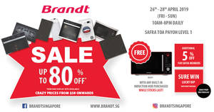 Brandt SAFRA Toa Payoh SALE: Up to 80% off with Sure Lucky Dip prizes (26th April – 28th April 2019)