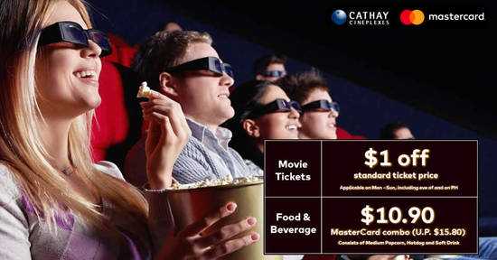 Featured image for Cathay Cineplexes: Enjoy $1 off movie tickets & a special F&B combo with Mastercard till 30 June 2019