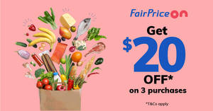 Featured image for Fairprice Online: $20 off first 3 purchases for new customers from 5 – 31 May 2019