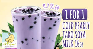 Mr Bean: 1-for-1 Pearly Taro Soya Milk deal valid at 52 outlets from 10 April 2019